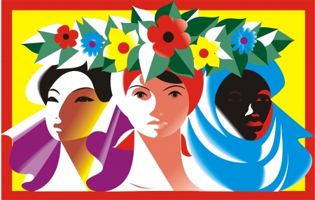 Vector illustration  Three women  The concept of peace, friendship, solidarity and feminism  Vector