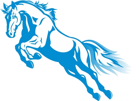 prancing blue horse for the new year 2014 Vector