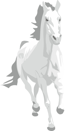 Prancing grey horse for the new year 2014 Vector