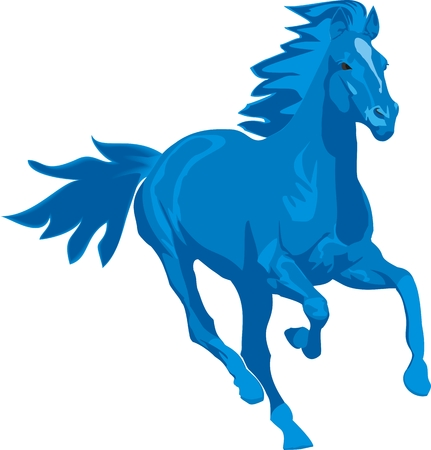 illustration  Prancing blue horse Vector