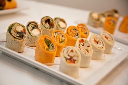 messe: Mini Wraps, Catering Stock Photo