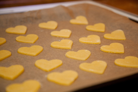 baking tray: baking tray with heart cookies