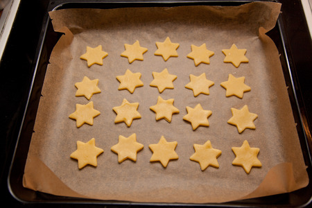 baking tray: baking tray with star christmas cookies.