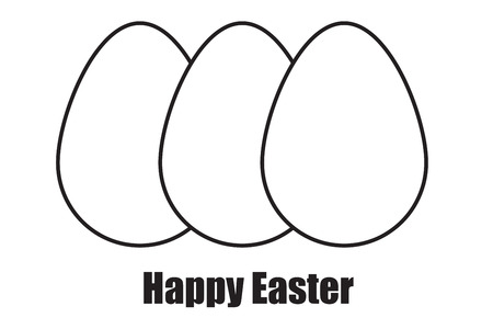 hid: happy easter egg illustration. flat design graphic. the words happy easter.