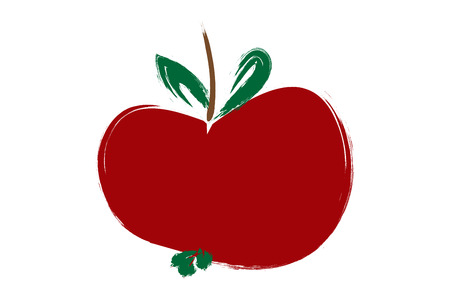 fruit stem: red apple Painting, Illustration in red color.
