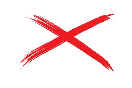 회화, 흰색 배경에 빨간색 X의 그림입니다. 붓으로 그린.