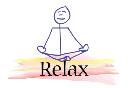 meditation man: man sitting in zazen meditation posture on the word relax. Stock Photo
