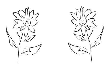 welcome smile: smiling flowers illustration. hand drawn picture of flowers with smiling faces.