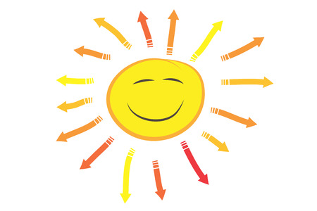 smiling sun: happy smiling sun illustration. arrow rays shining around the sun. Stock Photo