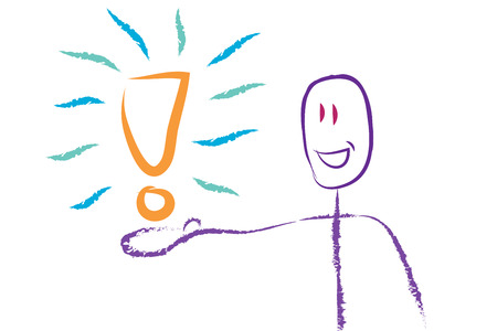 explanation: smiling stick figure presenting explanation mark on his hand. He has got the solution to a problem.