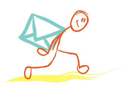carrying: stick figure carrying an letter envelope on his back. Stock Photo