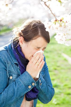 女性がくしゃみをすれば。花粉症のための pollenflug。桜が開花します。彼女はハンカチを有し、彼女の鼻を吹きます。