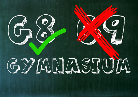 pro: g8 g9 high school graphic panel. question mark pro contra. Stock Photo