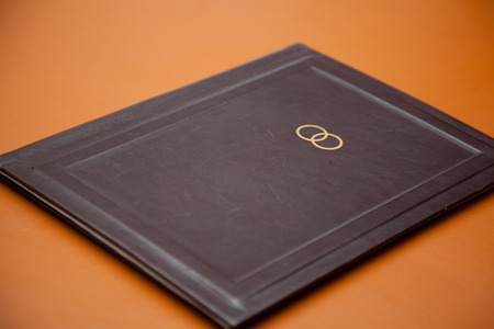 connectedness: wedding book made of brown leater with golden rings.