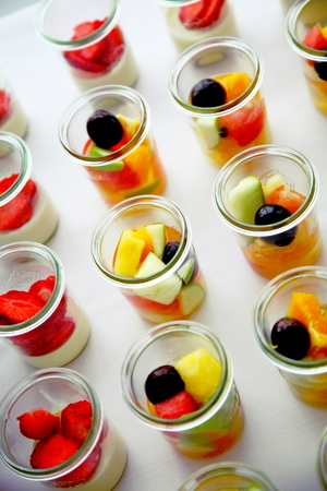 Fruit dessert in a glass. Stock Photo