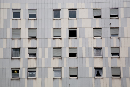 socially: windows of block of flats.