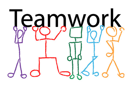 head shoulders: teamwork illustration. Stick figures carrying the word teamwork in hands, head and shoulders.