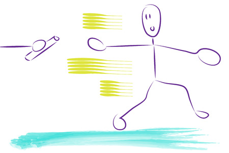 relay race: relay race illustration. a man or woman running and reaching for the relay.
