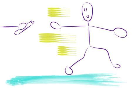 carrera de relevos: retransmitir ilustraci�n carrera. un hombre o una mujer que se ejecutan y alcanzando para el rel�.