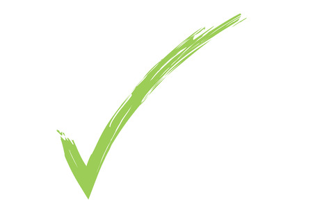 passed test: check sign, illustration of a green check symbol. Stock Photo