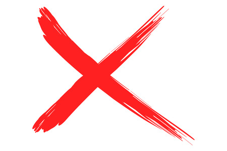 'paint brush': x illustration cross of red lines in paint style strokes.