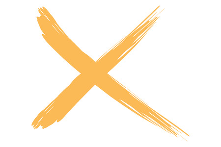 rejection: x illustration cross of red lines in paint style strokes.