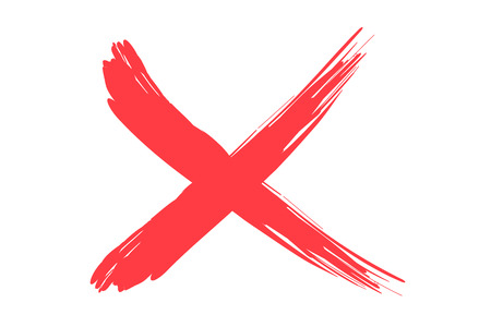 red x: red X sign illustration on white background