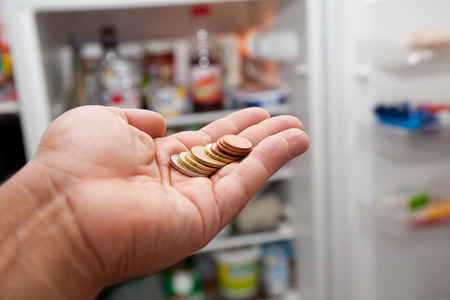 household money: hand with euro coins in front of open fridge