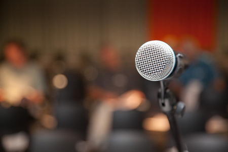 lectern: microphone at lectern at an event or presentation or lecture. Stock Photo