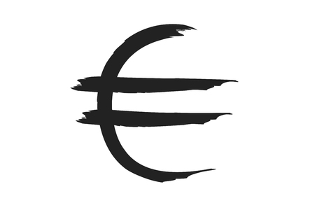 paint strokes: euro sign in paint strokes