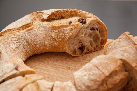 mediteranean: Olive bread on a cutting board. Stock Photo