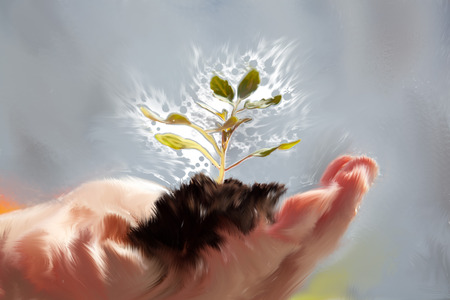 woman gardening: woman holding tiny plant with soil in her hand on the balcony. the plant is blowing in the wind. oil painting illustration. Stock Photo
