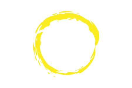 crayon: yellow circle illustration in rough paint strokes