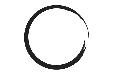 paint strokes: black circle illustration in rough paint strokes