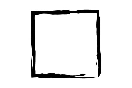 paint strokes: black square illustration in rough paint strokes