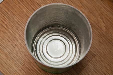 tin can: empty washed out food tin can.