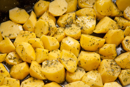 oven potatoes: raw oven roasted herb potatoes