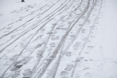 foot steps: snow on a road with foot steps, animal and bike trails