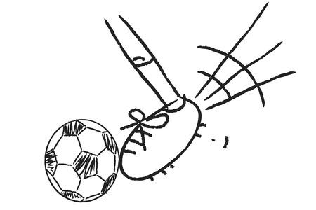 kicking: Football player leg kicking soccer ball illustration