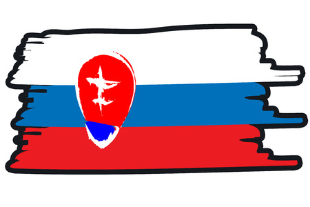 paint strokes: Slovakia National Flag Illustration in raw paint strokes. Abstract look.
