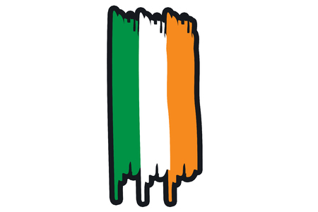 ireland flag: Ireland National Flag Illustration in raw paint strokes. Abstract look.