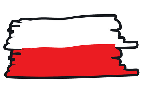 paint strokes: Poland National Flag Illustration in raw paint strokes. Abstract look.