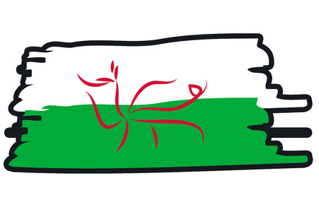 footbal: Wales National Flag Illustration in raw paint strokes. Abstract look.
