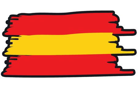 paint strokes: Spain, National Flag Illustration in raw paint strokes. Abstract look.