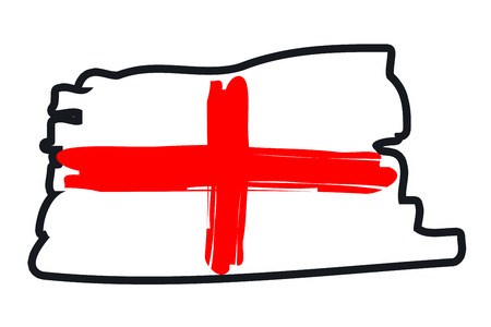 footbal: England National Flag Illustration in raw paint strokes. Abstract look.