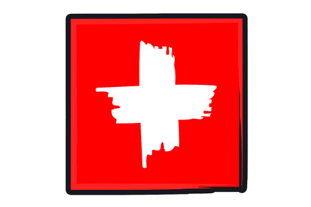 paint strokes: Swiss National Flag Illustration in raw paint strokes. Abstract look. Stock Photo