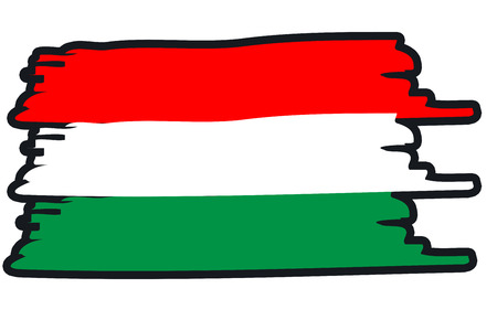 paint strokes: Hungary National Flag Illustration in raw paint strokes. Abstract look. Stock Photo