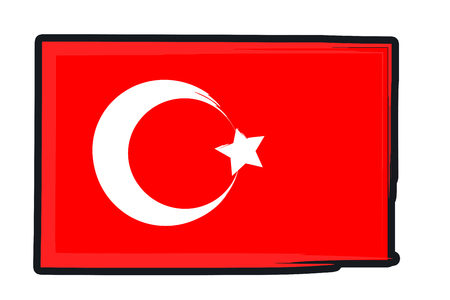 footbal: Turkey National Flag Illustration in raw paint strokes. Abstract look. Stock Photo