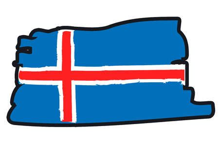 iceland: Iceland National Flag Illustration in raw paint strokes. Abstract look.