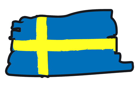 paint strokes: Sweden National Flag Illustration in raw paint strokes. Abstract look.